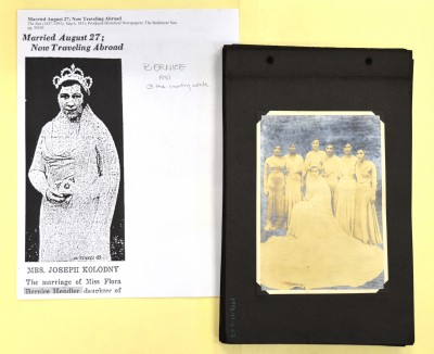 Bernice with her attendants, and in her Baltimore Sun feature. Anonymous gift. JMM 1998.47.4.63