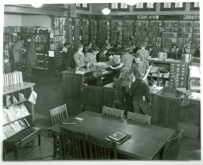 Inside the Enoch Pratt Free Library Branch, c.1940. Courtesy of Enoch Pratt Free Library, mdaa064.