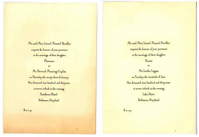 Invitations to Florence's 1932 wedding (left) and Naomi's 1939 wedding (right). Gift of Naomi Biron Cohen. JMM 2009.58.9