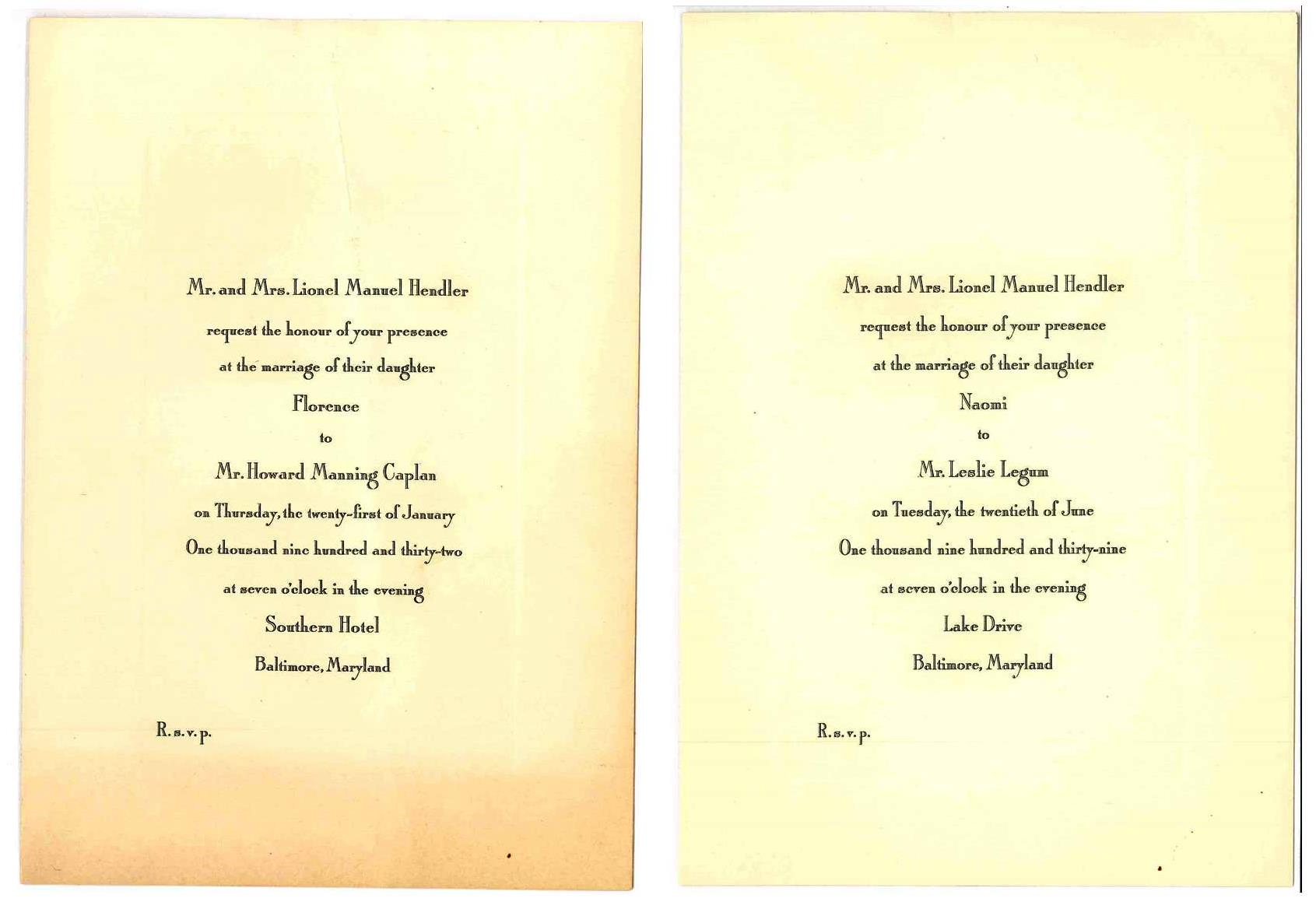 Invitations To Florence's 1932 Wedding (left) And Naomi's 1939 Wedding  (right)