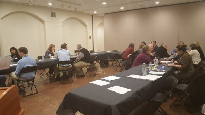 Teachers work in groups at the ICJS workshop, hosted at the Jewish Museum of Maryland.