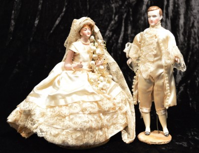 Bride and groom dolls used on the wedding cake of Naomi Hendler and Leslie Legum, 1939. Gift of Mr. and Mrs. Leslie Legum. JMM 1991.156.3a-b