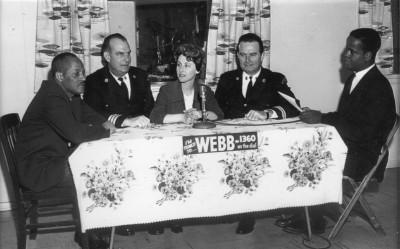 Rehfeld participates in a radio program with police and community members, during her stint as education director at the Citizen's Planning and Housing Association in the 1960s. Courtesy of Carla Wolf Rosenthal.