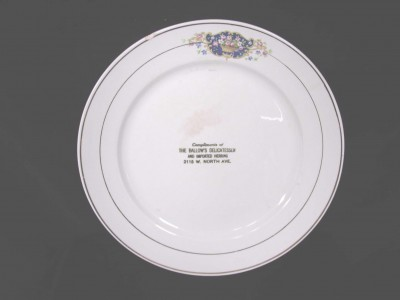 China plate from Ballow's Delicatessen. JMM 1987.131.5