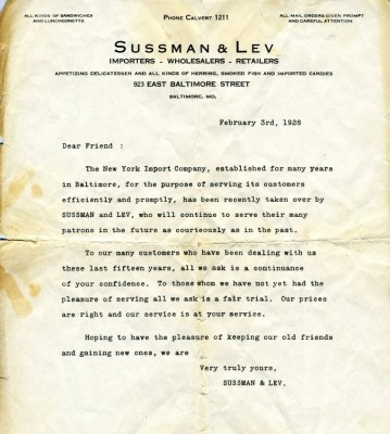 Letter indicating that Sussman & Lev are taking over the New York Import Company, February 3, 1926. JMM 1991.140.1