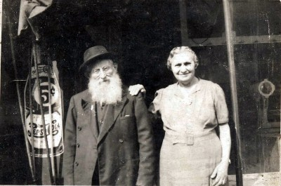 Itzhak and Leah Brotman in front of their butcher shop on Lombard Street. Itzhak's brother, Hyman, was also a kosher butcher. Courtesy of Saul H. Brotman. JMM 1991.170.6