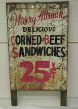 Painted metal and wood sign advertising Attman's corned beef sandwiches., c. 1930. JMM 1992.121.1