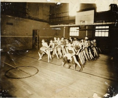The Jackson Club practicing basketball in the JEA gymnasium, c. 1935. JMM 1992.231.146
