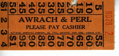 Cashier's check for Awrach and Perl Delicatessen, c. 1940s. JMM 1992.274.2