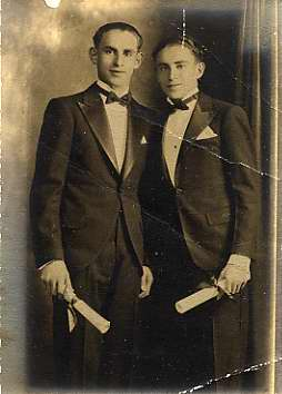 Saul Taragin, right, with an unidentified friend, possibly at his graduation from Baltimore Polytechnic [link: https://en.wikipedia.org/wiki/Baltimore_Polytechnic_Institute] in the early 1930s. Museum purchase. JMM 2003.83.10