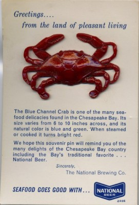 Crab pin, promotion from National Brewing. JMM 2007.54.16