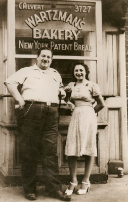 Herman Wartzman and his niece Esther Levin outside the Wartzman Bakery at 913 E. Lombard Street. Wartzman learned to be a baker in the Russian Army. Courtesy of Paul Wartzman. JMM CP14.2007.1