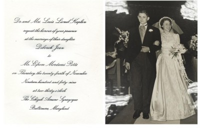 Deborah Kaplan, daughter of Dr. Louis Kaplan, married Efrem M. Potts on November 24, 1949 at Chizuk Amuno, Baltimore. Gift of Efrem M. Potts. JMM 1995.192..11, 239