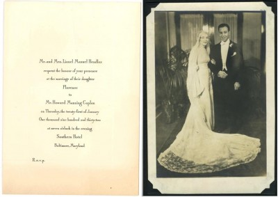 Florence Hendler married Howard Caplan on January 21, 1932, at the Southern Hotel, Baltimore. Invitation: gift of Naomi Biron Cohen, JMM 2009.58.9; photo: Anonymous gift, JMM 1998.47.4.59