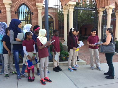 One example can be seen in a visit this fall by a group of students that included Syrian refugees who learned about immigration history – as they made connections with their own personal experiences – through a tour of Voices of Lombard Street.