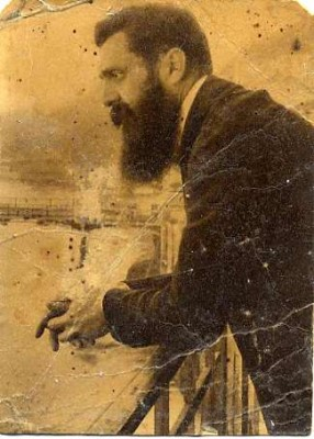 Theodor Herzl, from a 1901 photographic postcard. Gift of Edith Cohen Roth, JMM 2004.15.2