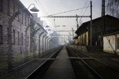 Image combining the train station at Buhosovice, near Terezîn (left) and Auschwitz (right). Image from Loss and Beauty by artist Keron Psillas.