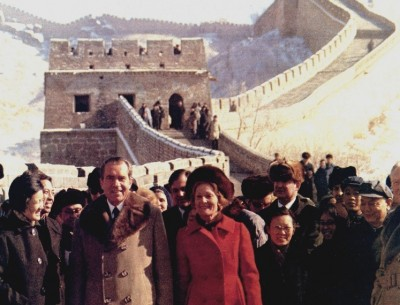 President and Mrs. Nixon visit the Great Wall of China, February 24, 1972. Photo by Byron E. Schumaker. NARA 194421