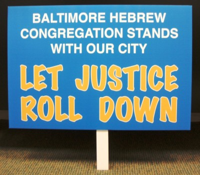Protest sign from a march/rally/protest held on May 1, 2015 in response to the ongoing uprising/unrest in Baltimore after the arrest and subsequent death of Freddie Gray.  Rally organized by Baltimore United for Change, SEIU, and CASA. These signs were printed up and made available to protesters who did not make or bring their own. JMM K2015.2.1
