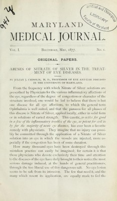 Volume 1 of the Maryland Medical Journal
