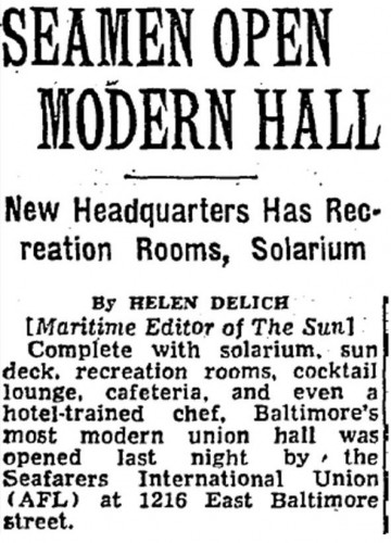 """Seamen Open Modern Hall,"" The Baltimore Sun, November 11, 1954."