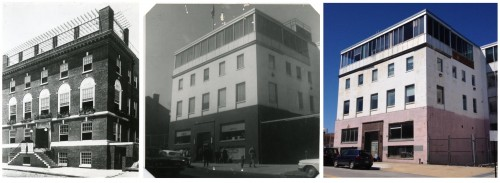 Left: The JEA's Levy Building, circa 1925. Gift of Jack Chandler, JMM 1992.231.105 Center: The Seafarer's International Union Hall, circa 1970. Gift of Jack Chandler. JMM 1992.231.255 Right: 1216 E. Baltimore Street as it looks today. Taken by JMM staff, March 29, 2017