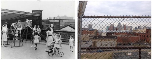 Left: Children playing on the JEA roof, circa 1945. Gift of Jack Chandler, JMM 1992.231.029 Right: The current view toward downtown from the rear roof deck. Taken by JMM staff, March 7, 2017