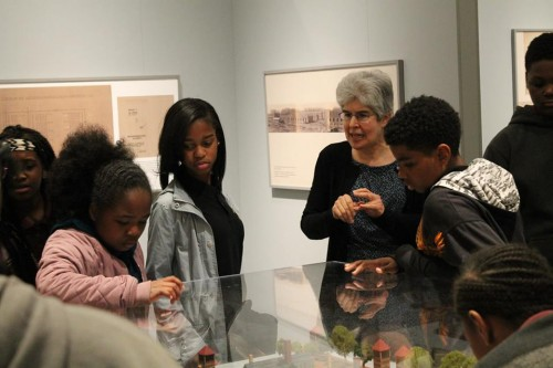 "Margie with a school group in ""Remembering Auschwitz: History, Holocaust, Humanity"""
