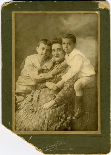 Sepiatone photograph of Ella Gutman Hutzler with her two sons, Albert D. Hutzler and Joel Hutzler c. 1898, JMM 1991.26.9