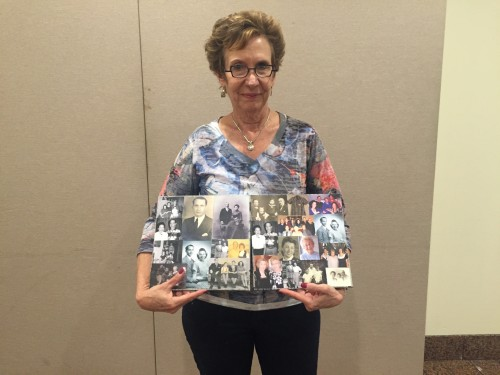 "Nancy with the collages she made for the ""Holocaust Memory Reconstruction Project."""