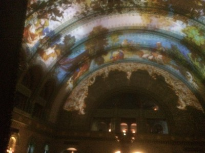 Projections on the ceiling of Union Station in St Louis