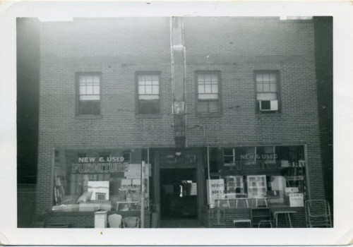 A storefront at 402-404 S. Bond Street, circa 1960. It's not clear if this is the same building as that used by the synagogue. Photo by Menasha Katz. JMM 1987.137.58
