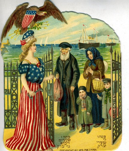 Die cut card of an immigration scene, 1909 by the Heb. Publishing Company. Lady Liberty opens a metal gate for the family, while an American eagle watches overhead. JMM 1997.101.3