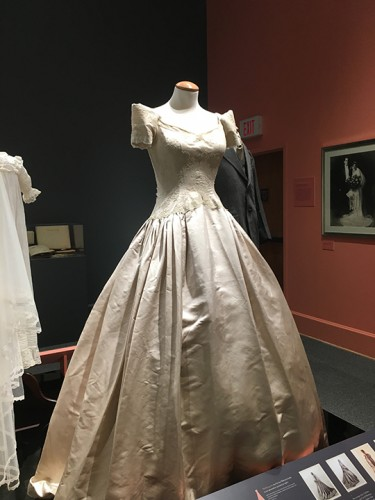 The dress with the largest skirt, which required a lot of steaming and paper tissue to enhance the petticoat underneath.