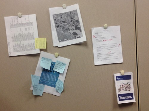 Papers on my cubicle wall!