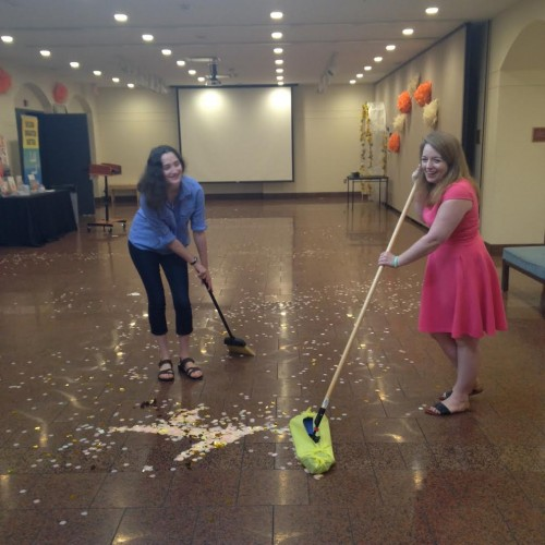 Trillion and I cleaning up after the opening party.