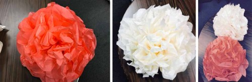 One Flower. Two Flower. Coral Flower. White Flower.. It was raining tissue paper flowers in the office.