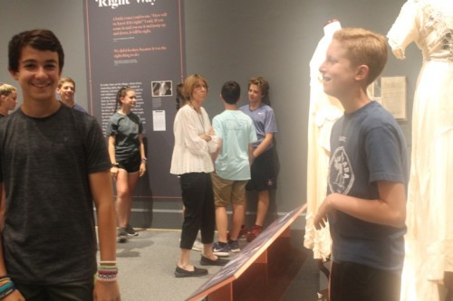 Campers exploring the exhibit without the aid of a scavenger hunt
