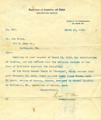 This is a letter out of the Jewish Museum's collection which discusses the arrival of Judka Josek Fried in Baltimore from Russia in 1903. JMM 1988.209.004