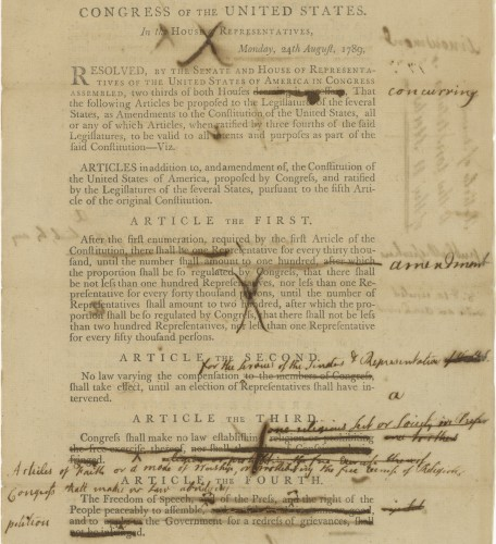 Cross-outs on Senate mark-up version of the Bill of Rights (Aug 24, 1789) demonstrate that the phrasing was contentious.
