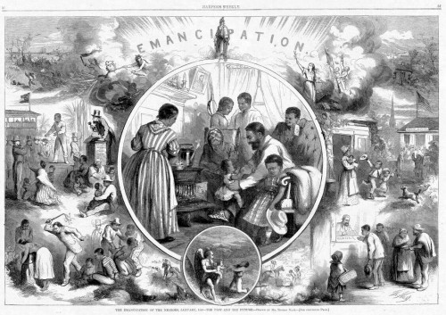 """Emancipation from Freedmen's viewpoint""; illustration from Harper's Weekly 1865. Via."