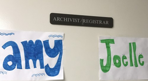 In the basement, but not forgotten. Our fellow interns made us these name signs!