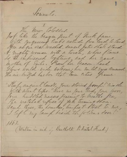 "Manuscript of the sonnet ""The New Colossus"" by Emma Lazarus, dated 1883.  Via."