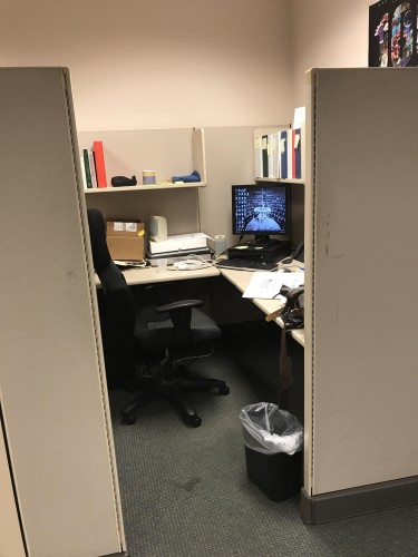 """PastPerfect Cubicle A"" aka my work station and my home away from how for the past 10 weeks."
