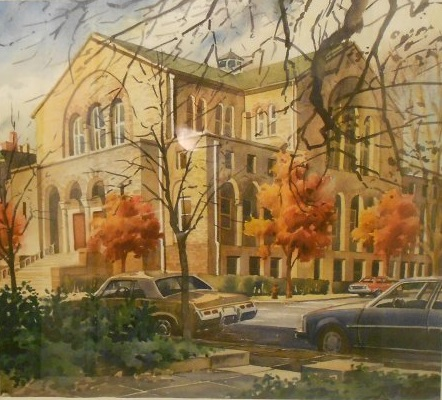 Watercolor painting of the Eutaw Place temple by Rod Cook. (JMM 1995.192.010)