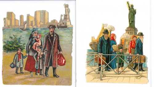 A pair of chromolithograph cutouts, featuring immigrant families in New York, the Statue of LIberty in the background. JMM K2016.3.4
