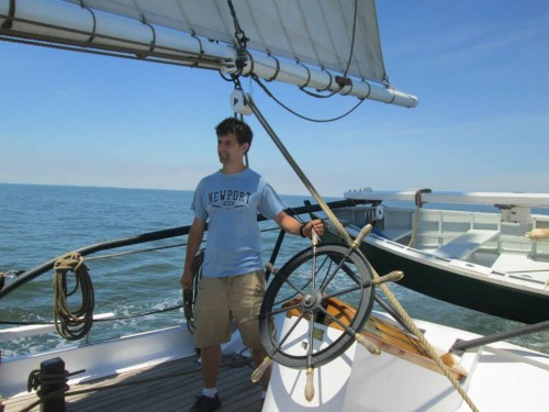 Me at the helm of the Lady Maryland