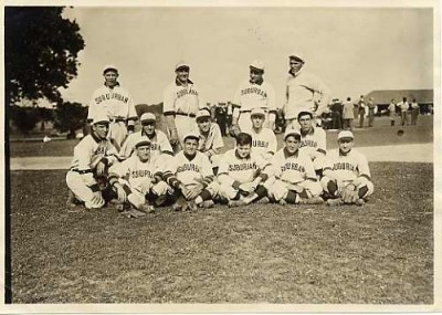 Suburban Club baseball team, Oct. 1, 1909. Pictured are R. Maisel, Anderson, Goldman, E. Maisel, E. Strouse (Straus?), Parlette, unidentified, Aldridge, M. Strouse (Straus?), Wolf, Fowler, Rodger Pippen, and Zink. JMM 1985.90.19
