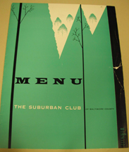 Sburban Club menu, c. 1958. JMM 1988.218.33a