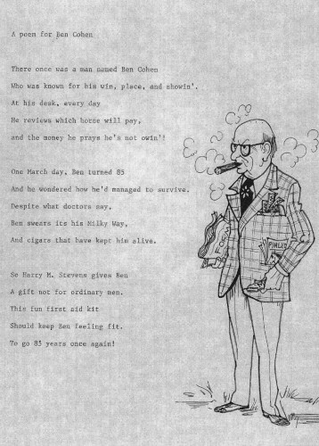 This poem and caricature of Ben Cohen was presented to him by Bill Koras on the occasion of his 85th birthday. Gift of Zelda Cohen, JMM 1994.100.3.